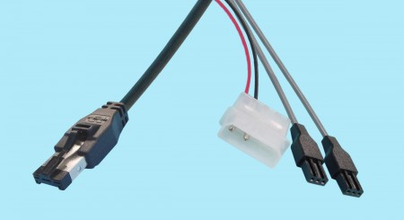 """HSSDC - 3-pin PTP """"Y"""" Cable w/ Power Connection"""